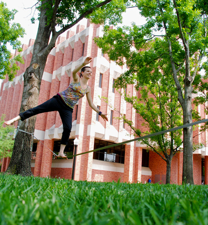 Slacklining outside Bizzell